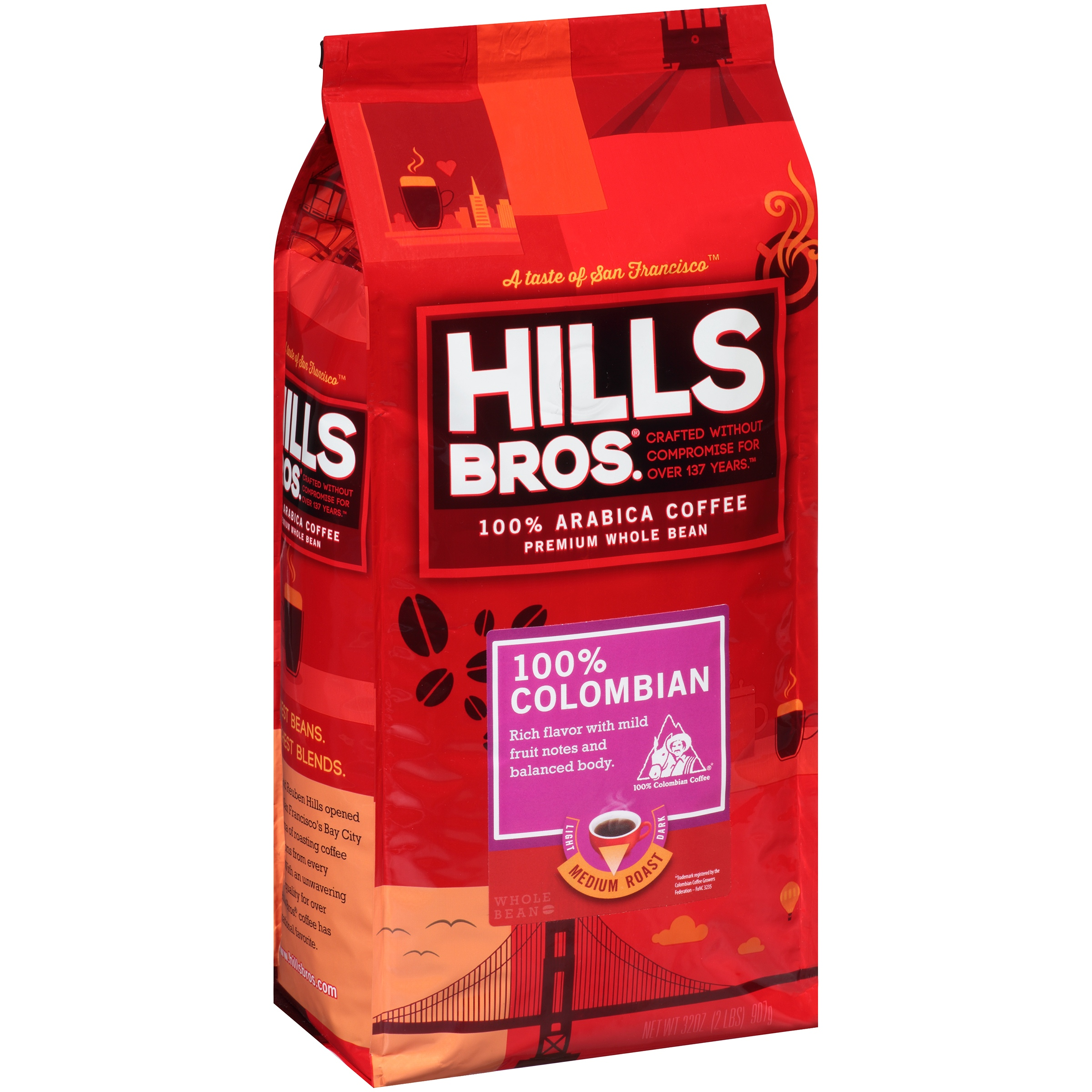 Hills Bros. 100% Colombian Premium Whole Bean Medium Roast Coffee, 32 oz