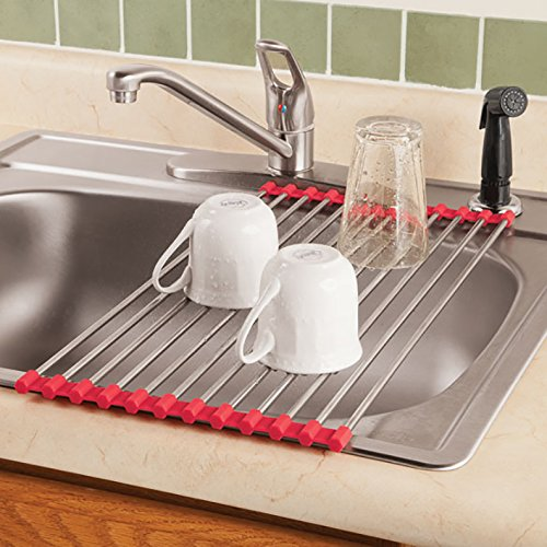 Premium Roll Up Drying Rack Over Sink Kitchen Space Saver Dishes Products  Rack