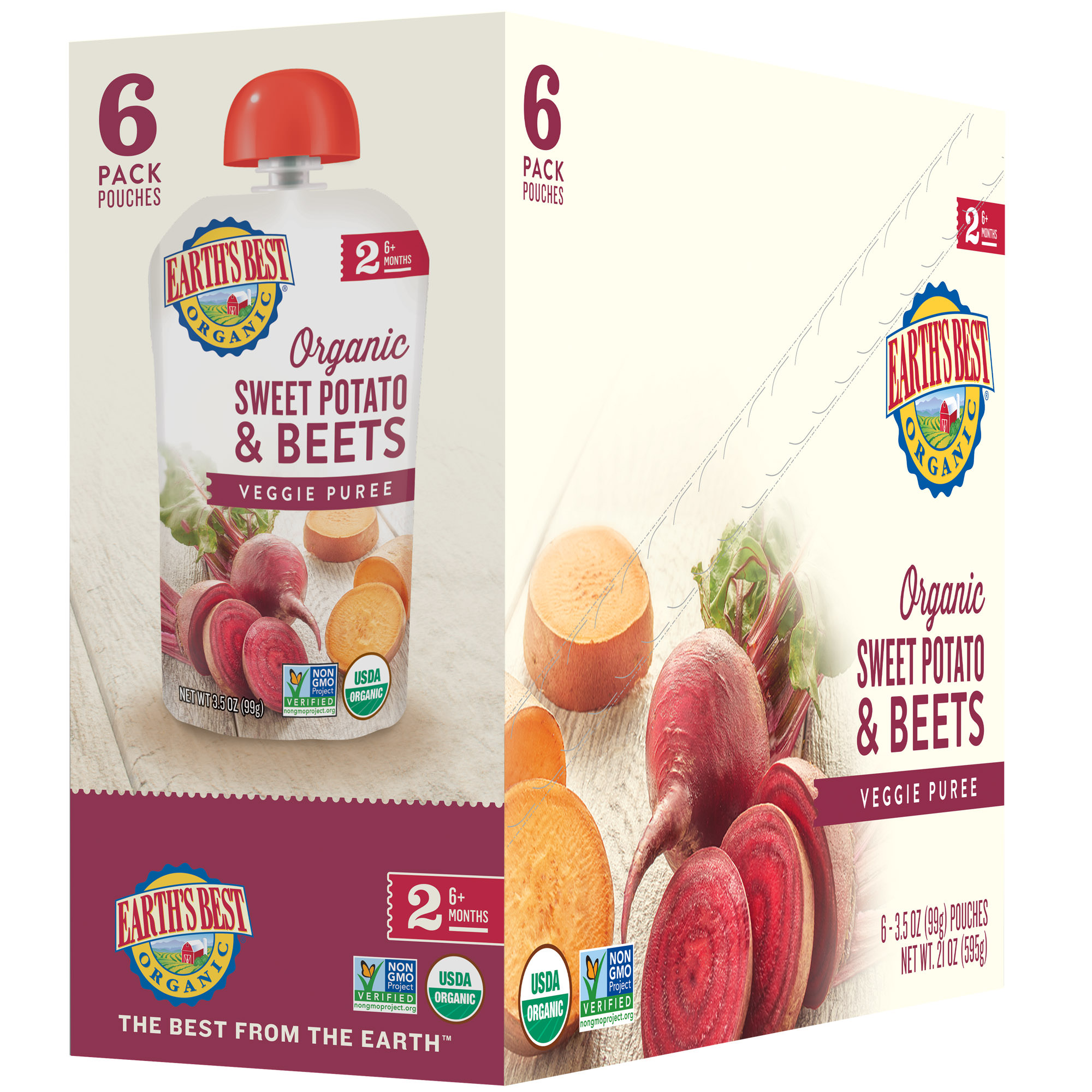 Earth's Best Organic Baby Food Puree, Sweet Potato & Beets, 3.5 Ounce (Pack of 6)