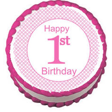 Pink Girls 1st Birthday Edible Frosting Photo Cake Decoration Cake Topper - Round
