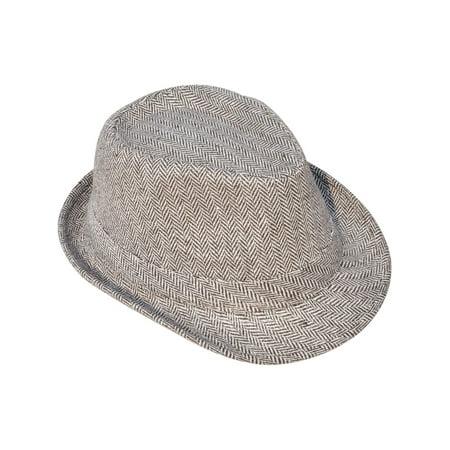 Short Brim Teardrop Crown Wool Blend Fedora Hat (Drop Shoulder Wool Blend)