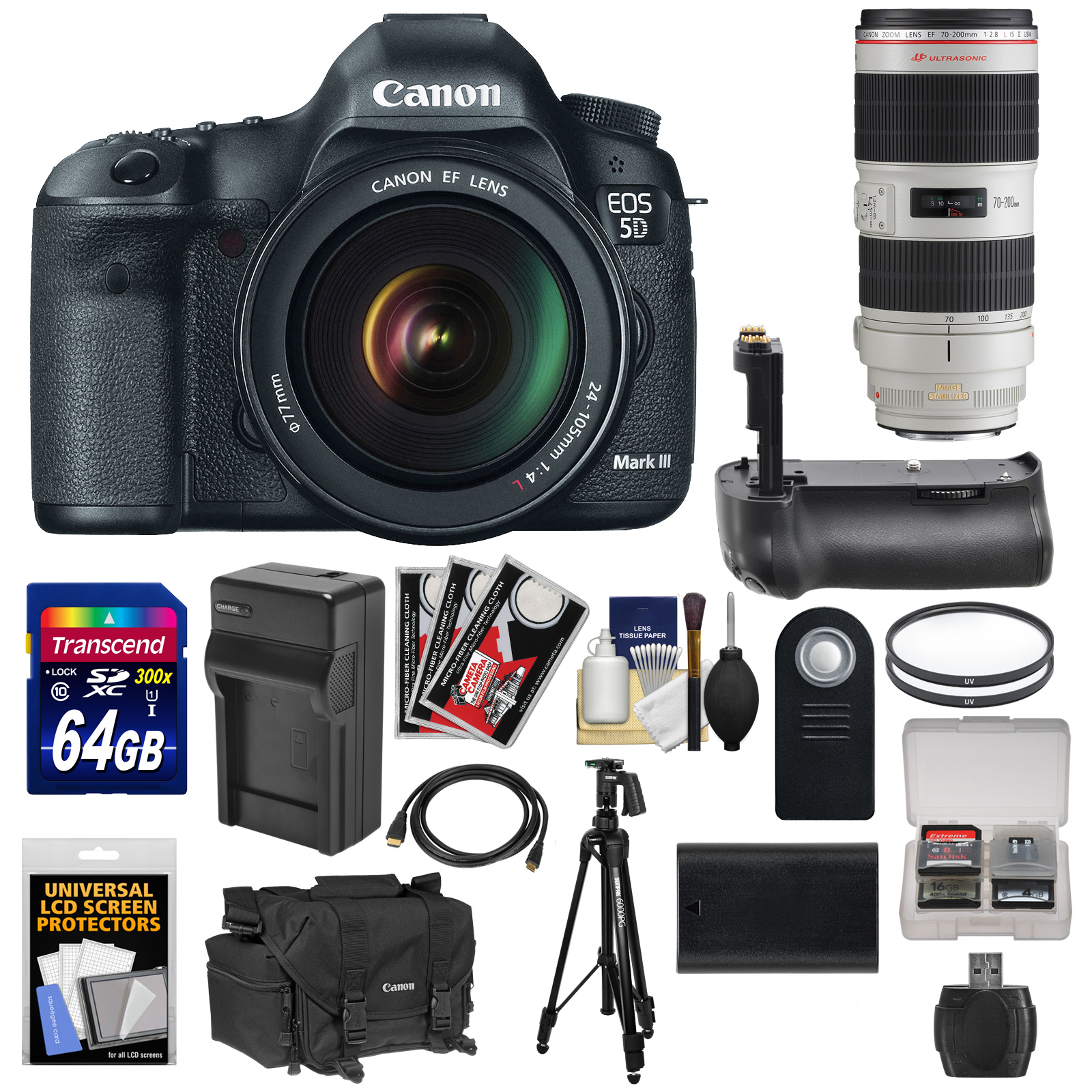 Canon EOS 5D Mark III Digital SLR Camera with EF 24-105mm L IS & 70-200mm f 2.8 L IS II Lens + 64GB Card + Grip +... by Canon