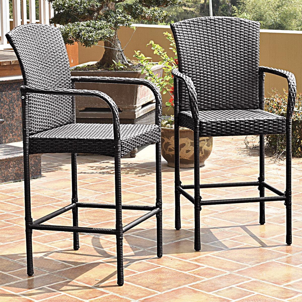 Image of: Costway Wicker Outdoor Bar Stool With Armrests Set Of 2 Walmart Com Walmart Com