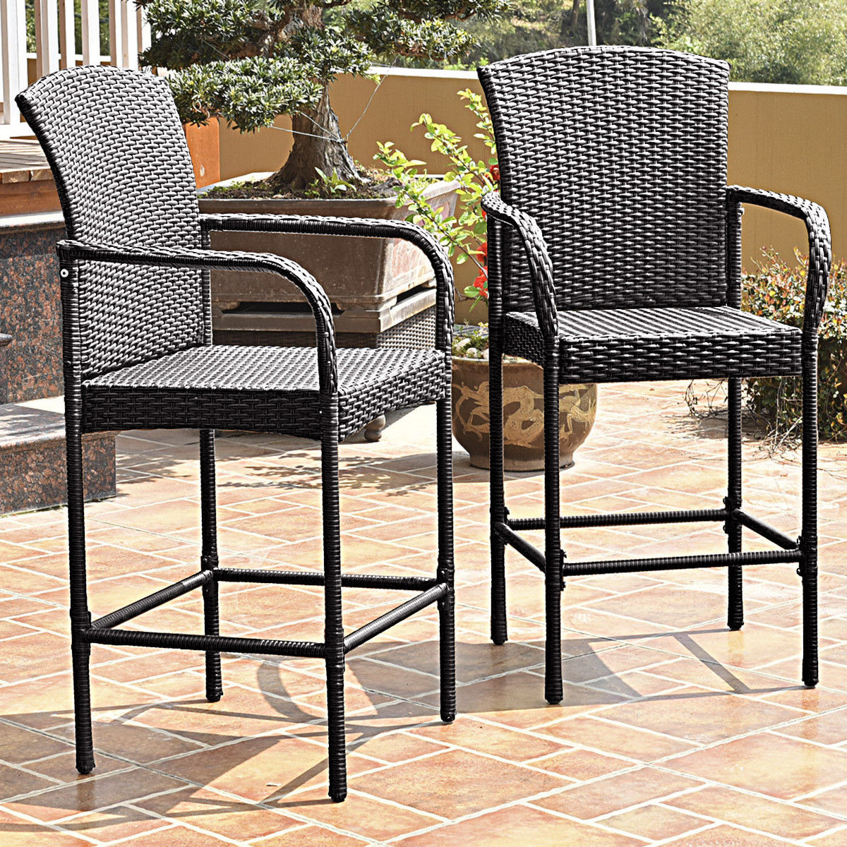 2pcs Patio Rattan Bar Stools High Counter Dining Chair W Armrests