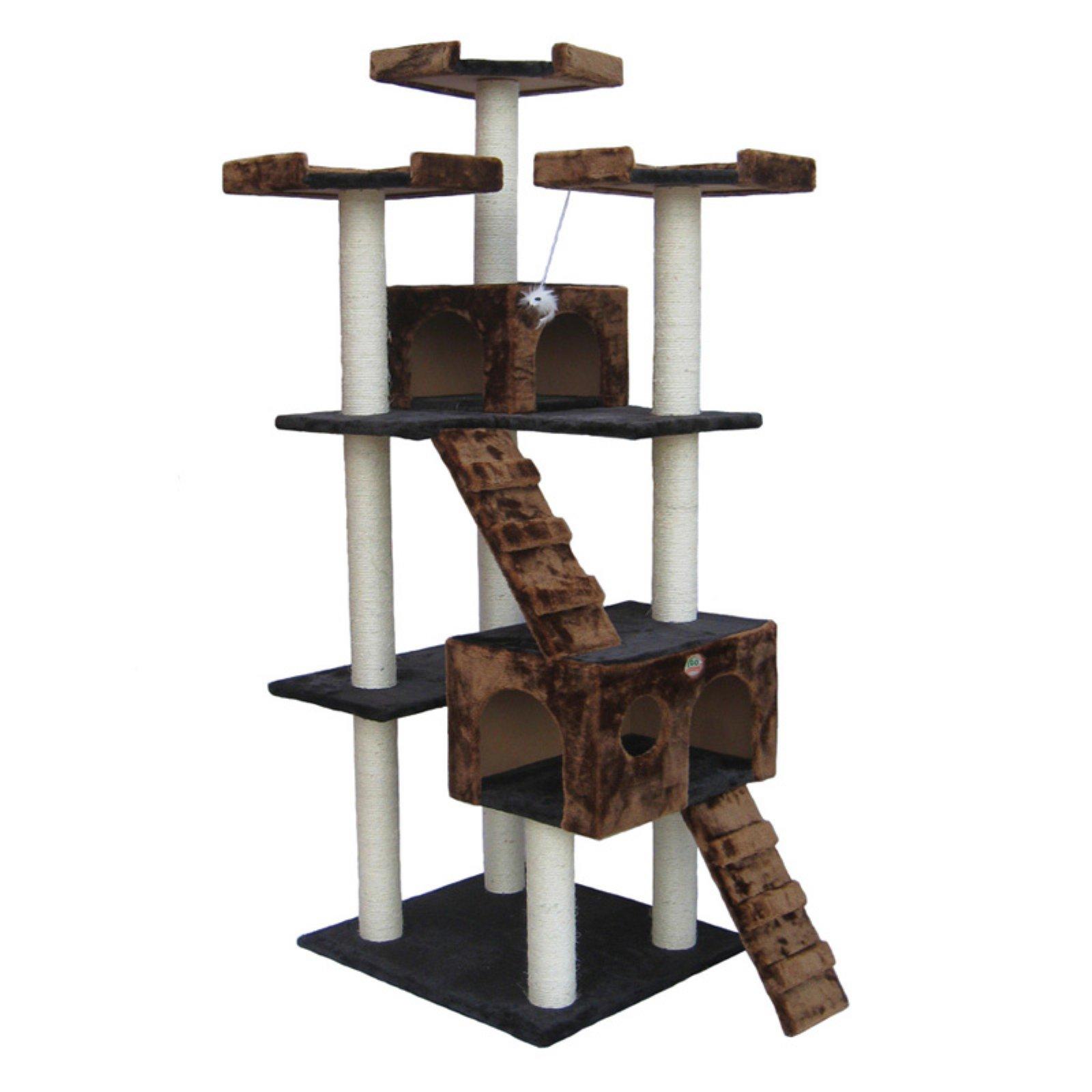"Go Pet Club 72"" Cat Tree Condo Furniture Brown/Black Color"