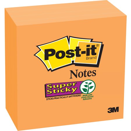 """Post-it Super Sticky Notes, 3"""" x 3"""", 4 Pads per Pack, 90 Sheets per Pad, Neon Orange"""