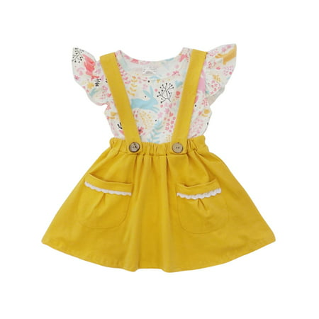 Toddler Girls Easter Dress or Toddler Girl Suspender & Skirt 2 Piece Boutique Outfit So Sydney](Easter Chick Baby Outfit)