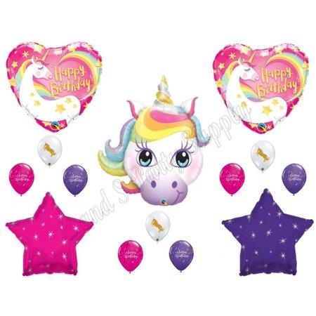 RAINBOW UNICORN Happy Birthday Party Balloons Decoration Pink Purple Girl