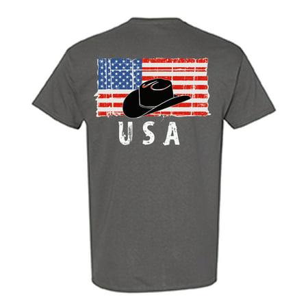 Awkward Styles Cowboy Hat USA Men Shirt I'm American USA Flag T shirt for Men 4th of July Gifts Texas Men Tshirt Gifts for Men Cowboy Hat T-shirt for Men Independence Day Print on the Back Only](Cowboy Gifts)