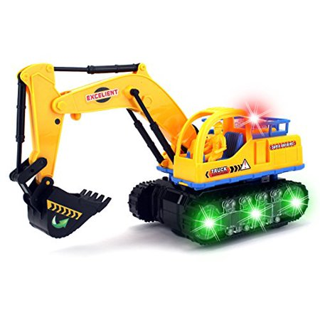 Super Builders Excavator Battery Operated Kid's Bump and Go Toy Construction Truck w/ Cool Flashing Lights, Music for $<!---->