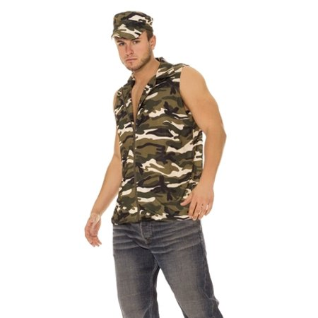 Army Military Soldier Man Adult Camo Halloween Costume (Army Man Costume Halloween)