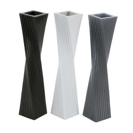 Decmode Set Of 3 Modern 24 Inch Twisted Rectangular Ceramic Vases