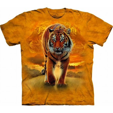 Orange 100% Cotton Rising Sun Tiger Novelty T-Shirt
