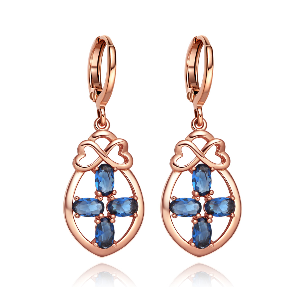 Beautiful Infinity Hearts and Holy Cross Powers Royal Blue Sparkling Crystals Gold-Tone Fashion Earrings
