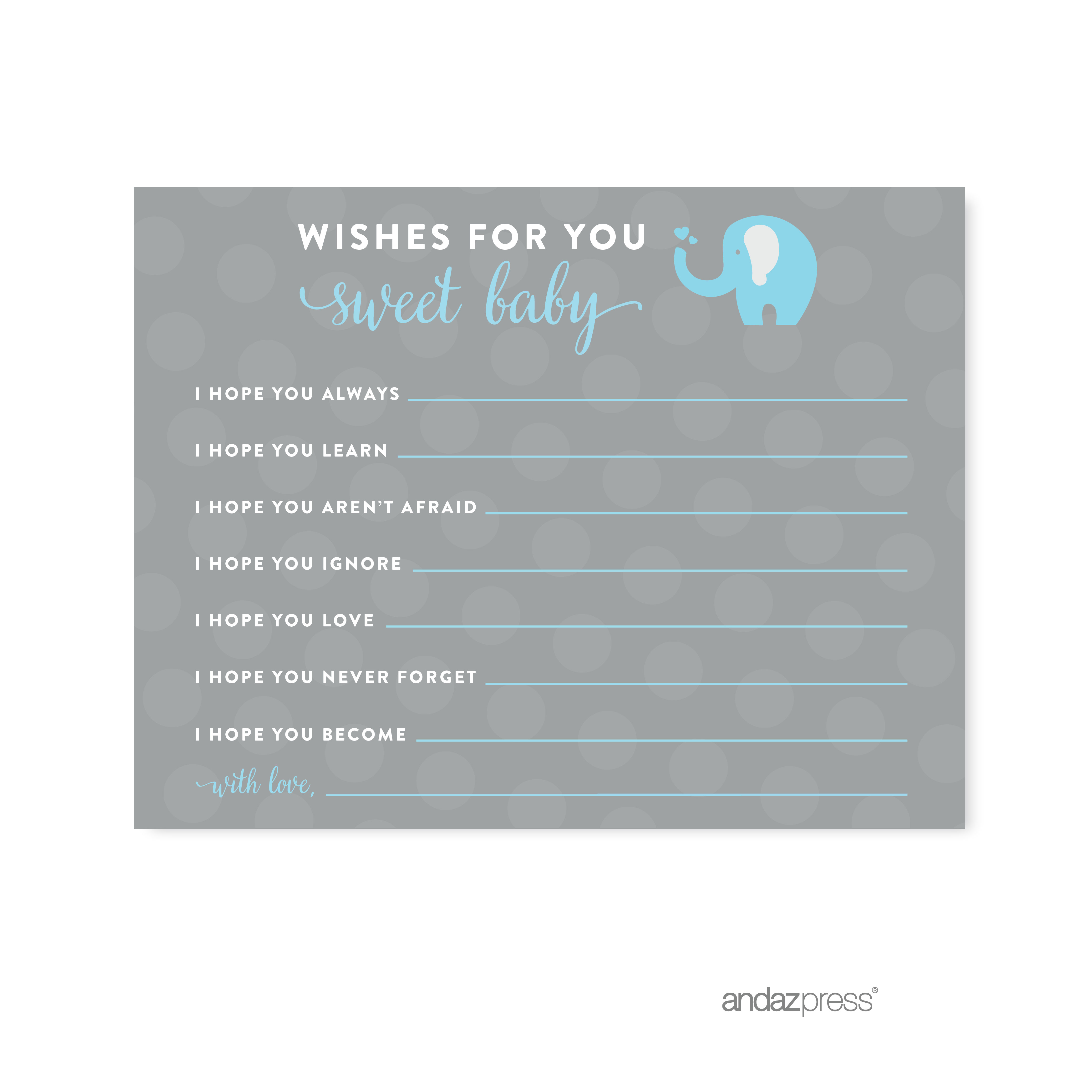 Wishes For Baby Gray Boy Elephant Baby Shower Games , 20-Pack