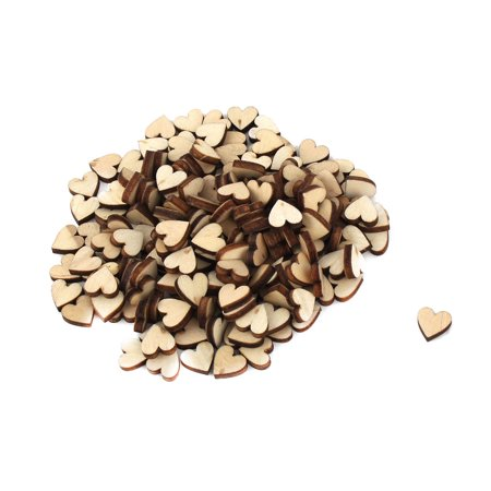 Holiday Wooden Love Heart Shaped Wedding DIY Crafts Beige 10mm x 10mm 200 Pcs - Wooden Hearts Crafts
