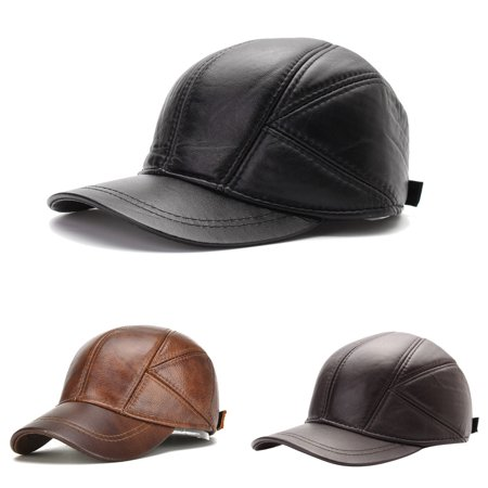 Men's Artificial Leather Baseball Caps Winter Hats with Ear Flaps Cap Hat