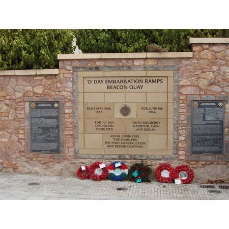 Division Memorial (LAMINATED POSTER D Day Embarkation Ramps memorial, Torquay Harbour. The 4th US Infantry Division embarked from ramps Poster Print 24 x 36 )