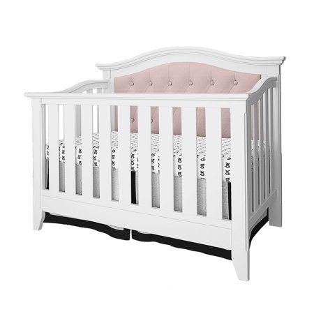 Belle Isle Furniture Magnolia Upholstered Convertible Crib-Color:White/Pink Linen