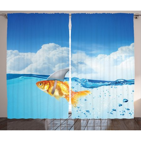 Sea Animal Decor Curtains 2 Panels Set, Cute Goldfish with Shark Fin on Top of the Water Fake Comic Nature Image, Window Drapes for Living Room Bedroom, 108W X 84L - Fake Goldfish