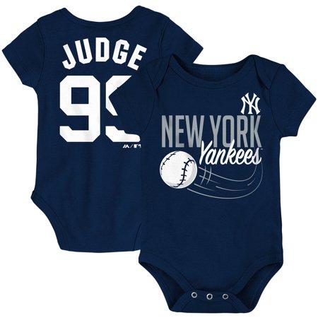 Aaron Judge New York Yankees Majestic Newborn & Infant Baby Slugger Name & Number Bodysuit - Navy