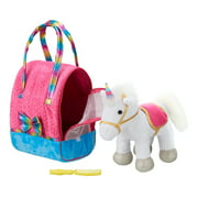 Plush White Unicorn with Travel Carrier and Comb Stuffed Animal Toy Set, 3 Pieces
