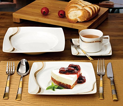 Lorenzo 30 Piece Elegant Bone China Service for 4 Dora Dinnerware Sets, Gold by Overstock
