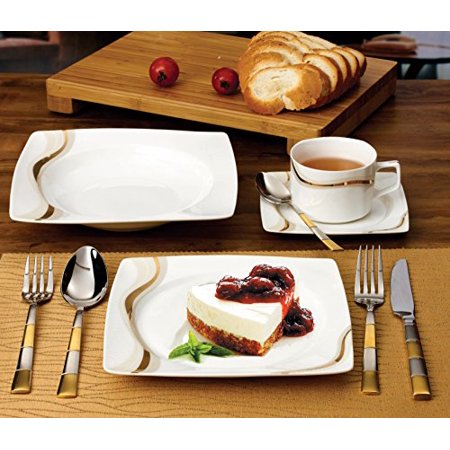 Florentine Bone China - Lorenzo 30 Piece Elegant Bone China Service for 4 Dora Dinnerware Sets, Gold