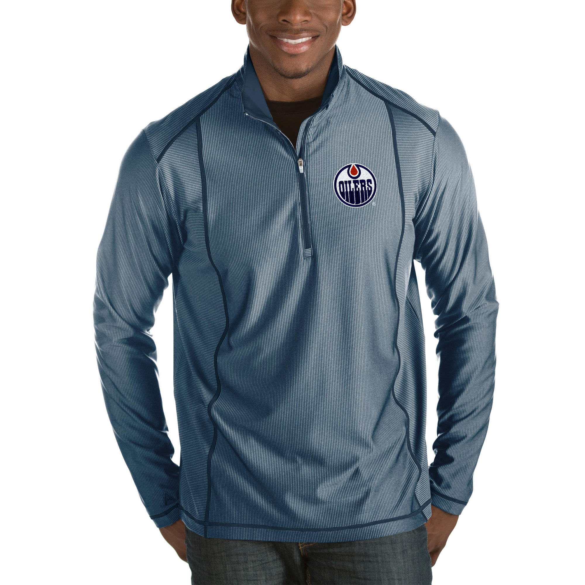 Edmonton Oilers Antigua Tempo Big & Tall Half-Zip Pullover Jacket - Heather Navy