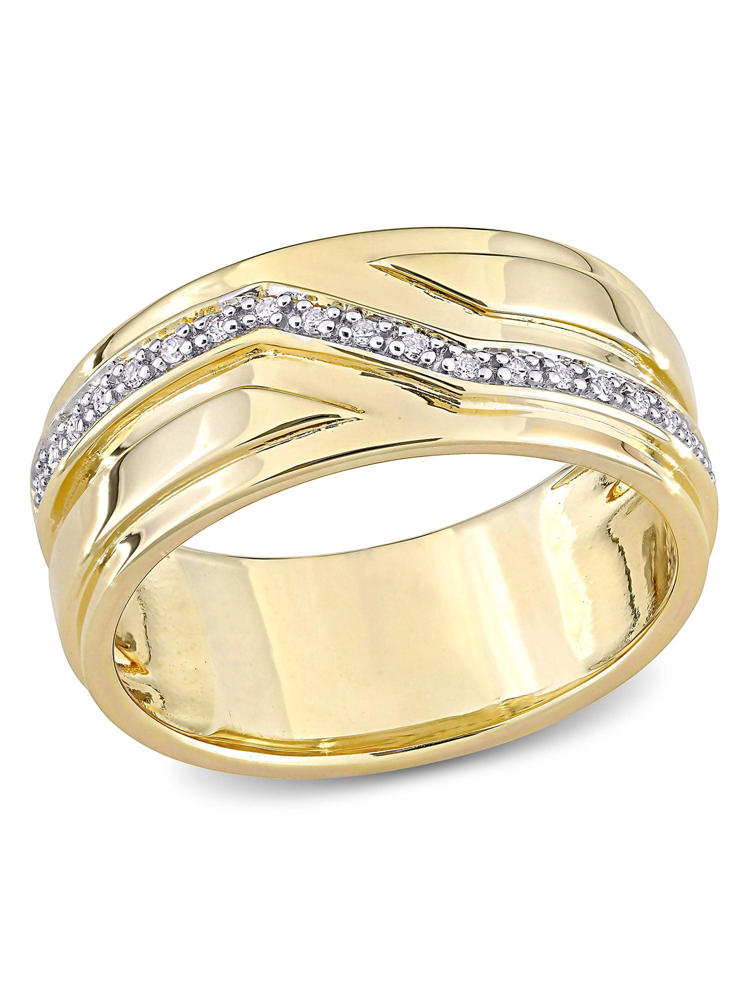 8.5 Mens Stylish 10 Karat Two-Tone Gold Ring