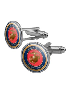 a8c7bc155e82 Product Image Marine Corps USMC Emblem Officially Licensed Round Cufflink  Set Silver Color