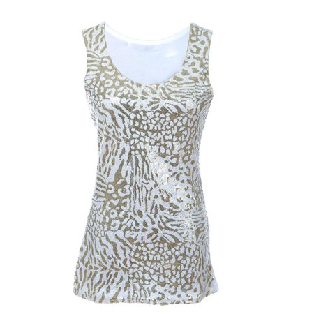 Metallic White (S/M Fit White Metallic Gold Sequin Detail Leopard Trendy Tank)