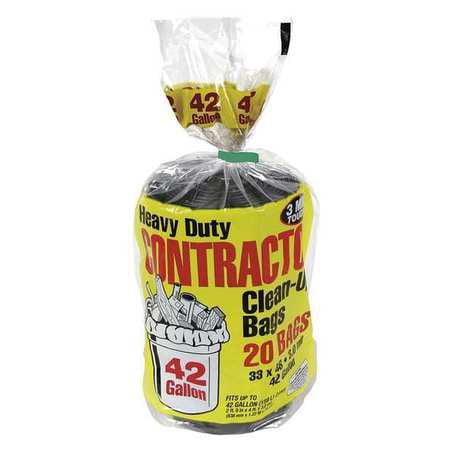 TOUGH GUY Trash Bags,42 gal.,PK20 5AU51