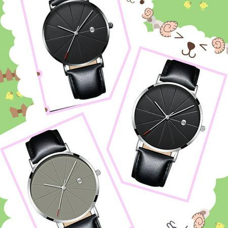 Brand New Fashion Simple Watch Calendar Slim Men'S Business Belt Watch Quartz Watch - image 5 de 6