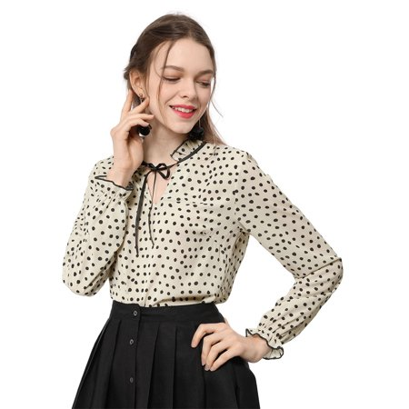 Unique Bargains Women's Tie Ruffled Neckline Polka Dots Vintage Blouse Bell Long Sleeves Tops (Size M / 10) - Swiss Dot Ruffle Blouse