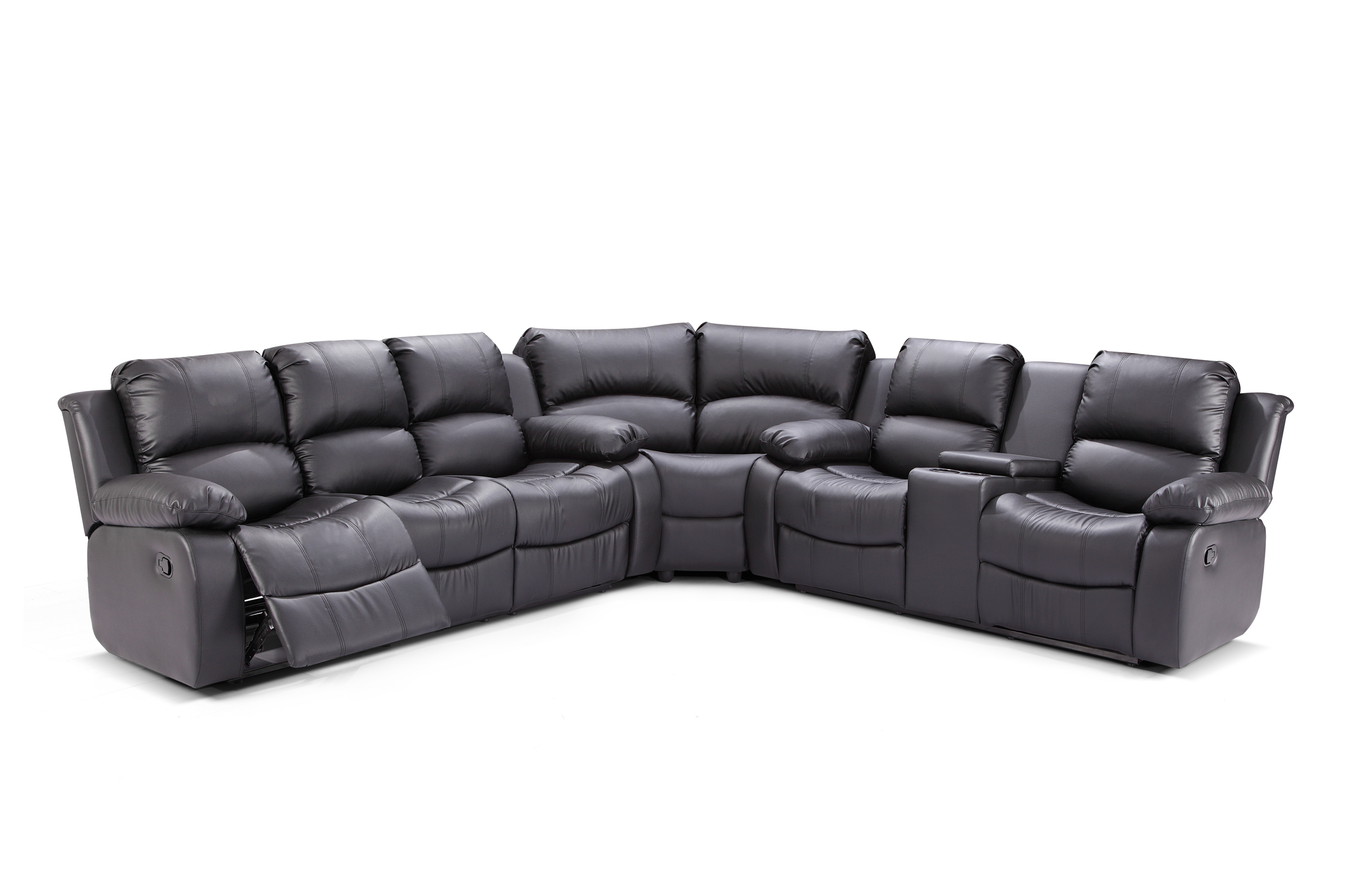 Zoey 3 pc Black Bonded Leather Living Room Reclining Sectional