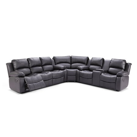 Zoey 3 Pc Black Bonded Leather Living Room Reclining Sectional Sofa