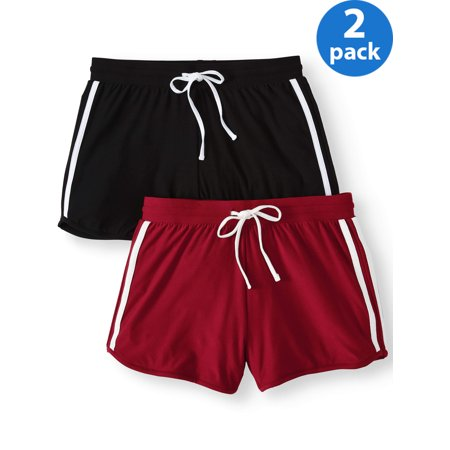 No Boundaries Juniors' basic knit shorts with tie-front 2pk value bundle ()