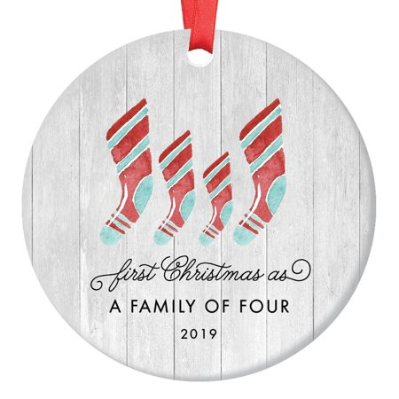First Christmas As Family of Four Ornament 2019, Farmhouse Woodsy Two Kids New Parents Xmas Present Mom Dad Mother Father Ceramic Porcelain Keepsake 3