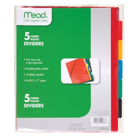 Mead 5 Tabbed Pocket Dividers, Pack of 5, Assorted (20038)