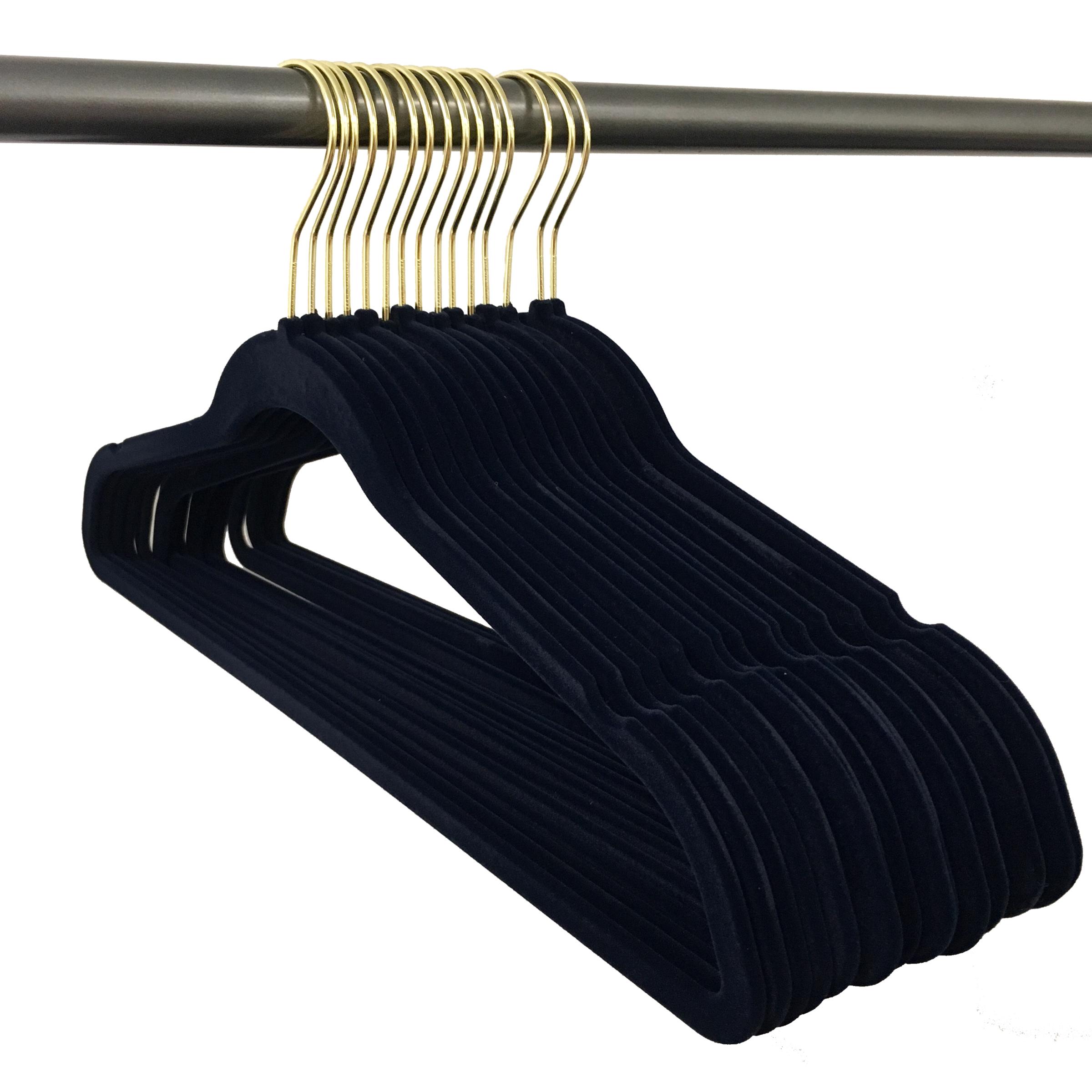 Closet Complete 50 Pack Velvet Hangers; black with Gold hook