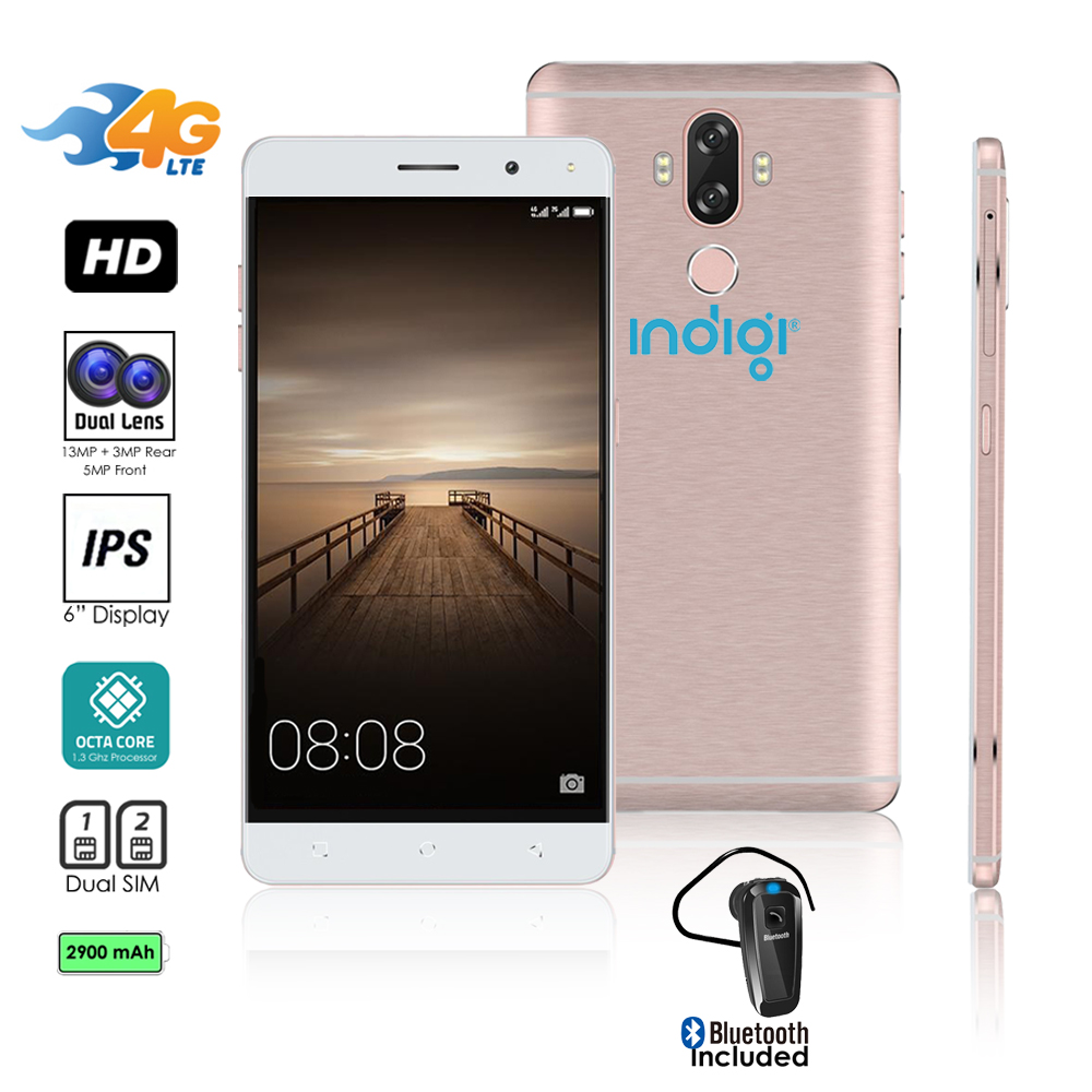 4G LTE GSM Unlocked 6in SmartPhone by Indigi® (OctaCore @ 1.3GHz + Android 7 + Fingerprint Scanner) + Bluetooth headset