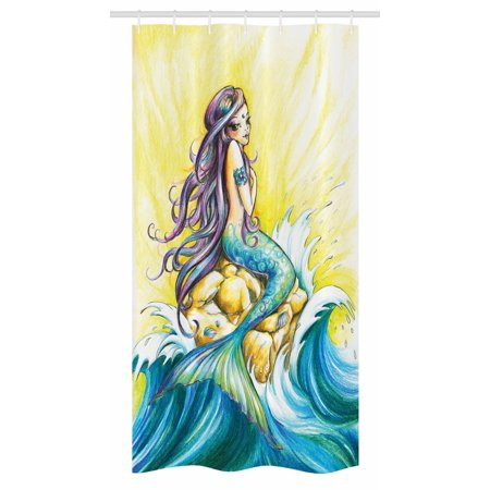 Shower Pencils - Mermaid Stall Shower Curtain, Magical Mermaid Sitting on Rock Sunny Day Colored Pencil Drawing Effect, Fabric Bathroom Set with Hooks, 36W X 72L Inches Long, Yellow Blue Purple, by Ambesonne