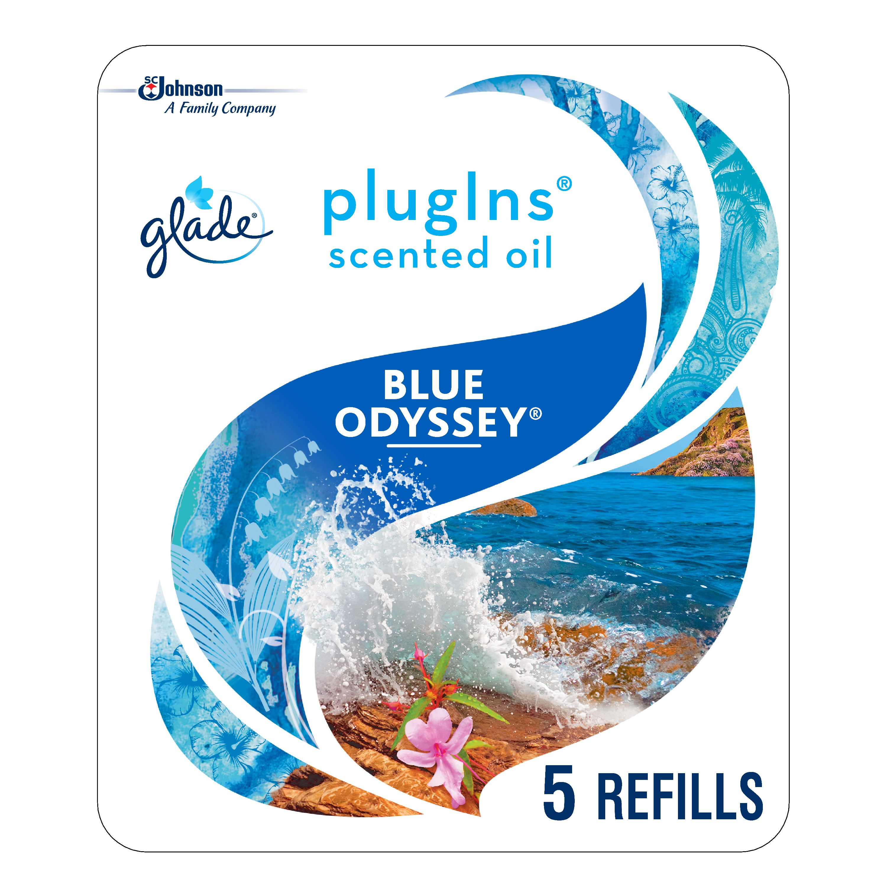 Glade PlugIns Scented Oil Refill Blue Odyssey, Essential Oil Infused Wall Plug In, Up to 50 Days of Continuous Fragrance, 1.34 oz, Pack of 5