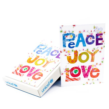 Hallmark UNICEF Christmas Boxed Cards, Peace Joy Love Lettering (12 Cards and 13 Envelopes) ()