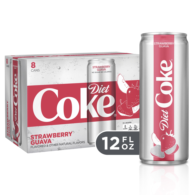 (3 Pack) Diet Coke Slim Can Soda, Strawberry Guava, 12 Fl Oz, 8 Count