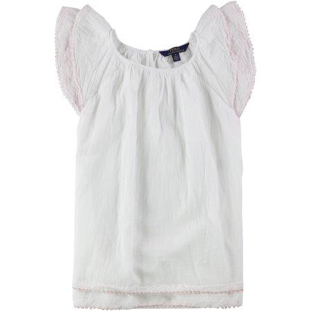 Ralph Lauren Girls Flutter Sleeve A-line Dress white 5 - Little Kids (4-7)