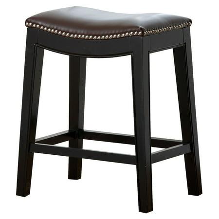 Superb Abbyson Reagan Dark Brown Leather Nailhead Trim Counter Stool Creativecarmelina Interior Chair Design Creativecarmelinacom