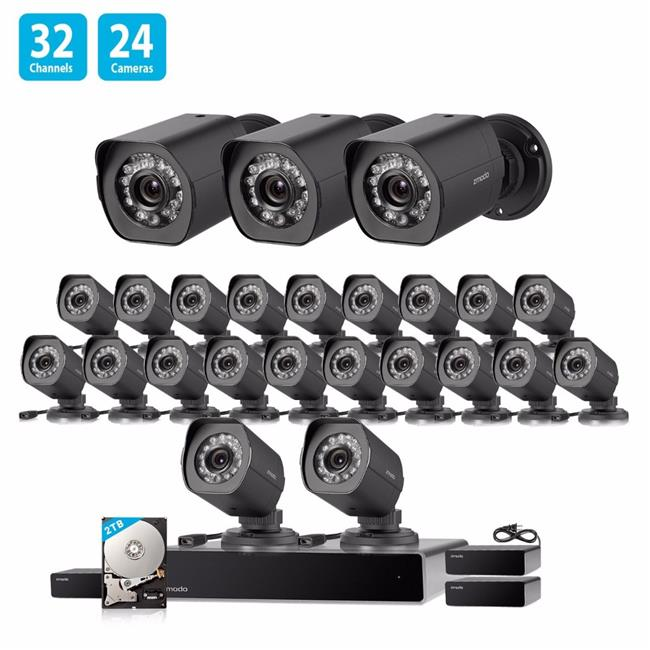 Zmodo BS-1024-B-2TB 1.0 MP 32 Channel Network NVR 24 HD Security Camera System