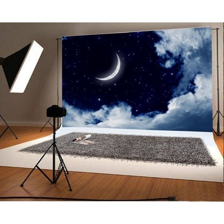 HelloDecor Polyster 7x5ft Photography Background Crescent Moon Starry Sky Night Viev Natural Scenery Theme Backdrops Portraits Shooting Video Studio Props